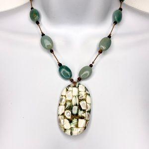Sparkling Sage Stone Abalone Pendant Boho Necklace